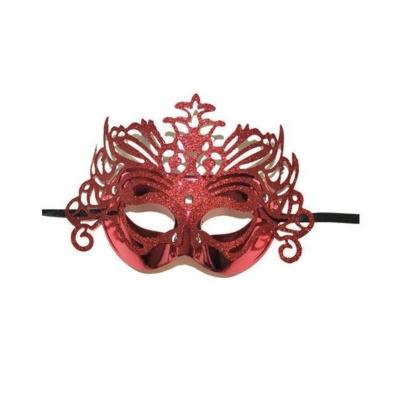 Škraboška maska benátská s korunkou - červená