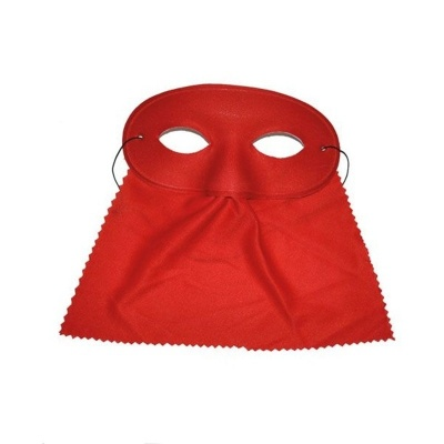Škraboška maska se závojem oválná - červená