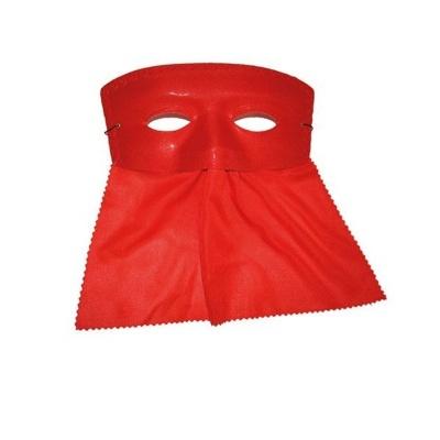 Škraboška maska se závojem hranatá - červená