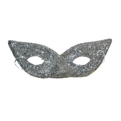 Škraboška maska se třpytkami - stříbrná