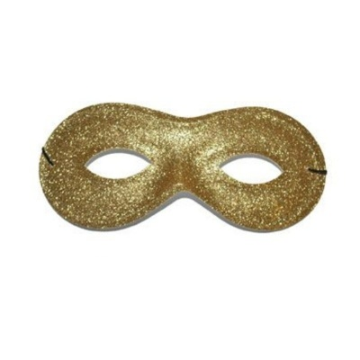 Škraboška maska třpytivá oválná - zlatá
