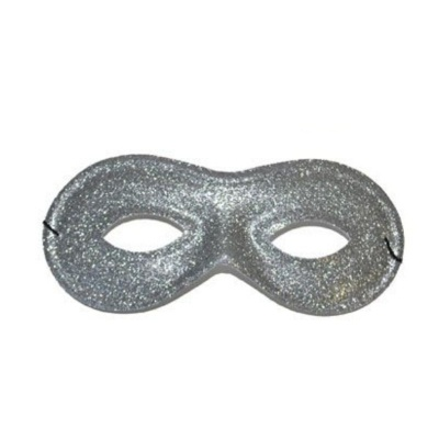 Škraboška maska třpytivá oválná - stříbrná
