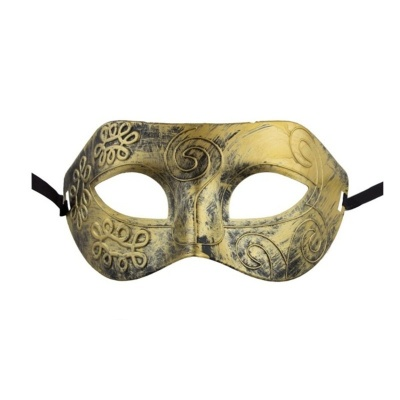 Škraboška maska s patinou - zlatá