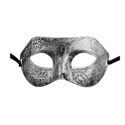 Škraboška maska s patinou - stříbrná
