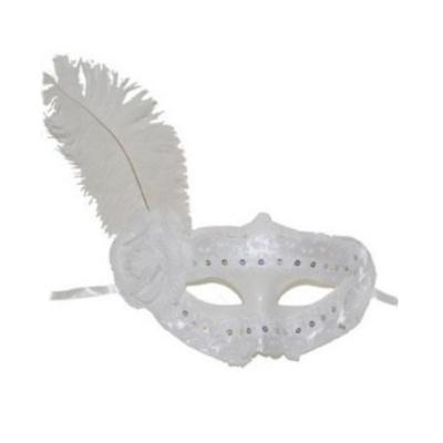 Škraboška maska s krajkou a pérem - bílá