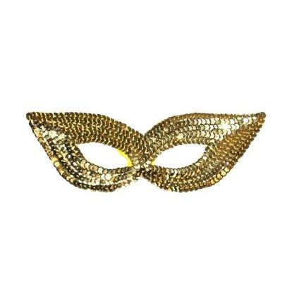Škraboška maska s flitry - zlatá