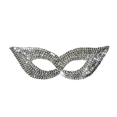 Škraboška maska s flitry - stříbrná