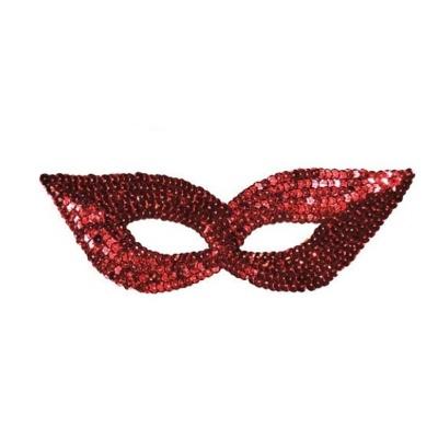 Škraboška maska s flitry - červená