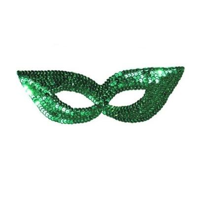 Škraboška maska s flitry - zelená