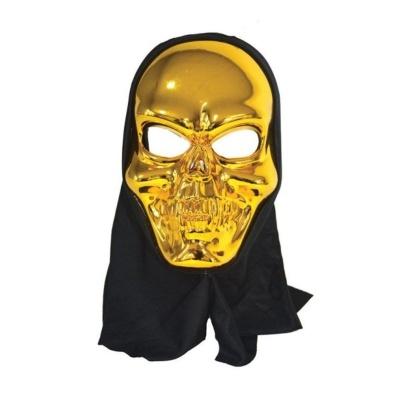 Maska lebka s kápí - zlatá