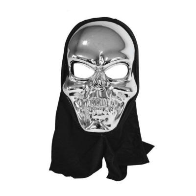 Maska lebka s kápí - stříbrná