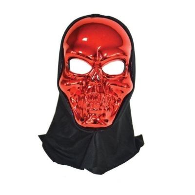Maska lebka s kápí - červená