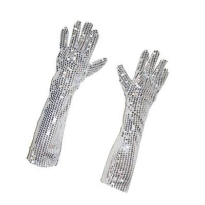Dlouhé rukavice s flitry - stříbrné 45 cm