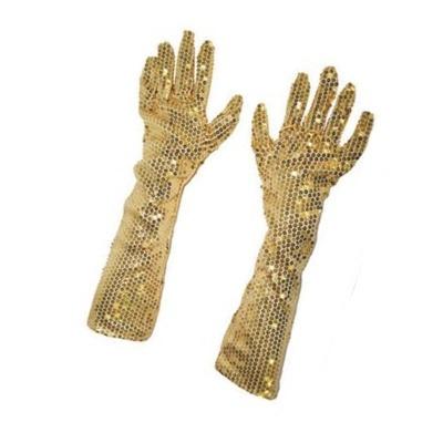 Dlouhé rukavice s flitry - zlaté 45 cm