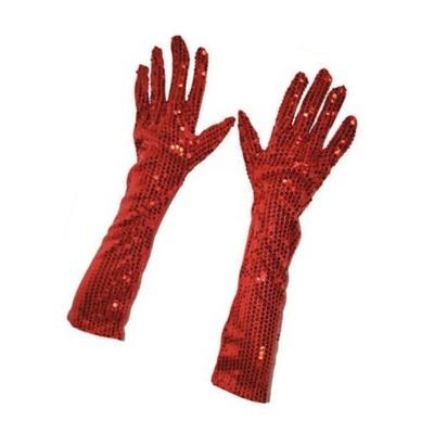 Dlouhé rukavice s flitry - červené 45 cm