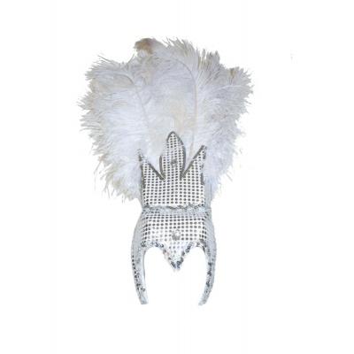 Velká koruna s peřím karneval - bílá
