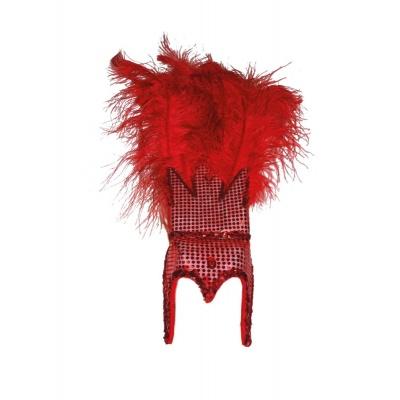 Velká koruna s peřím karneval - červená