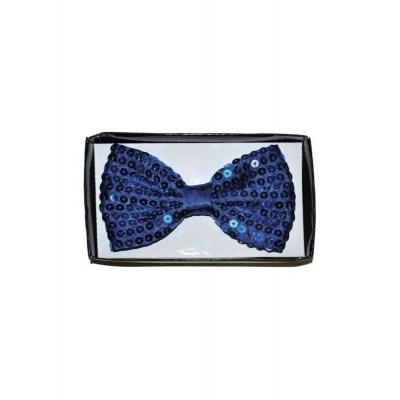 Motýlek s flitry modrý