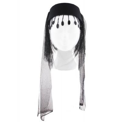 Arabský dámský klobouk se závojem černý