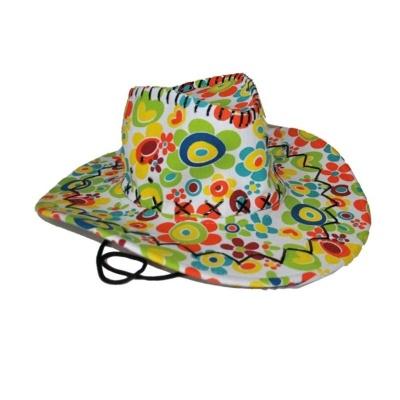 Kovbojský klobouk květinový barevný
