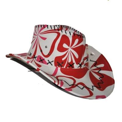Kovbojský klobouk květinový červenobílý
