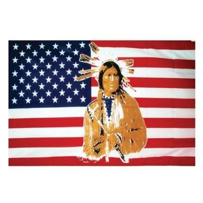Vlajka USA s indiánem 150 x 90 cm