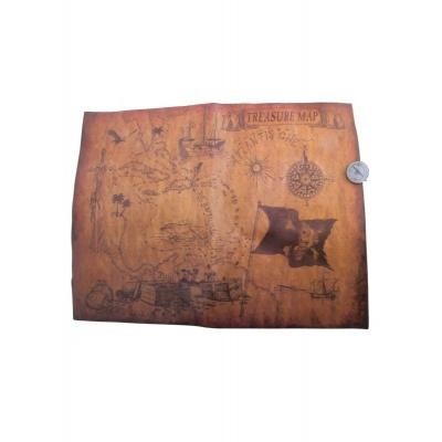 Pirátská mapa k pokladu s kompasem - 39x29 cm