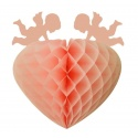 Závěsná dekorace srdce růžové - 25cm