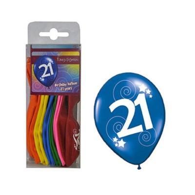 Balónky barevné - číslo 21 - 12ks