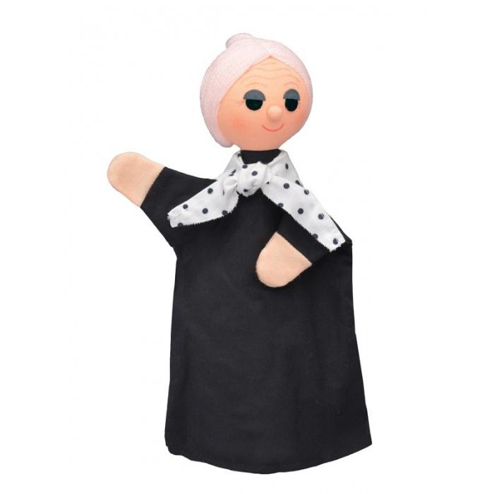 Babička s puntíky 28cm maňásek