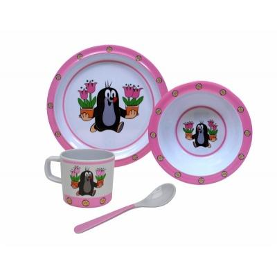 Dětské nádobí Krteček a tulipány - talíř, miska, hrnek a lžička