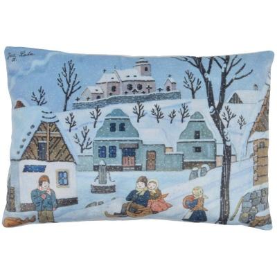 Polštářek Josef Lada Vánoce Zimní radovánky 45x30cm