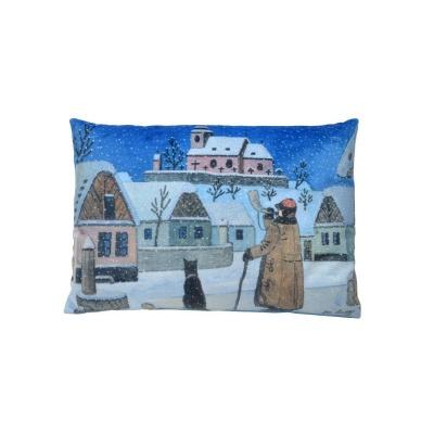 Polštářek Josef Lada Vánoce Půlnoc 32x21cm se třpytkami