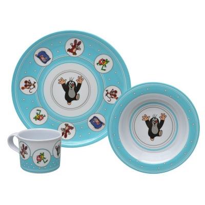 Dětské nádobí Krteček modré - talíř, miska a hrnek