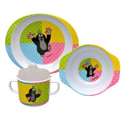 Dětské nádobí Krteček čtyřbarevné - talíř, miska a hrnek