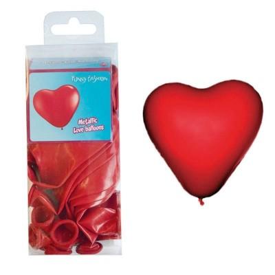 Balónky červené srdce - 12ks