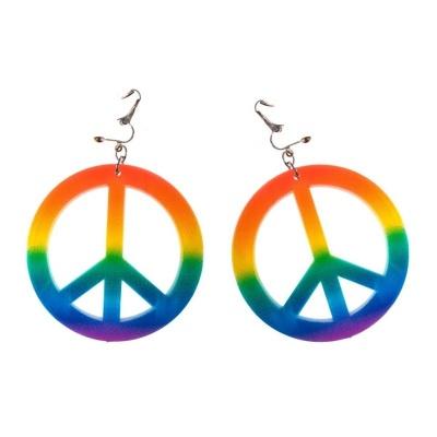Náušnice hippies duhové velké