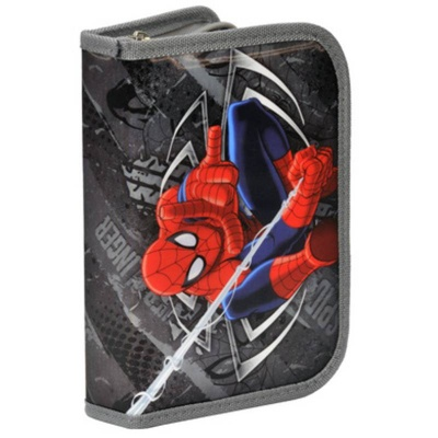 Školní pouzdro penál šedý Spiderman - s chlopněmi a vybavením
