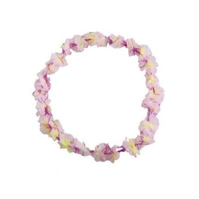 Květinový věnec květinový s fialovými třpytkami - světle růžový