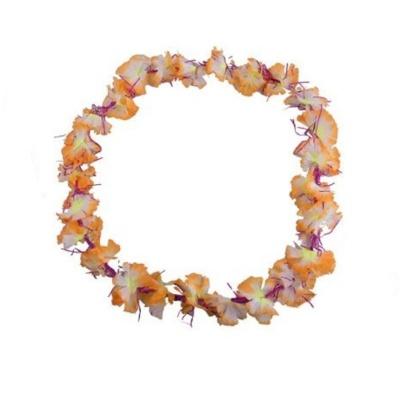 Květinový věnec květinový s fialovými třpytkami - světle oranžový