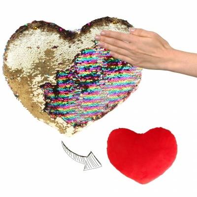 Polštářek srdce s flitry duhový zlatý 40cm