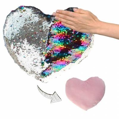 Polštářek srdce s flitry duhový stříbrný 30cm