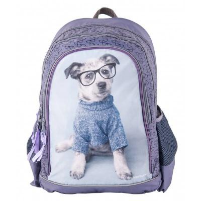 Školní batoh brašna fialová Pes s brýlemi