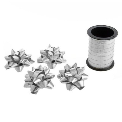 Stuha 10m a 4 mašle - stříbrné