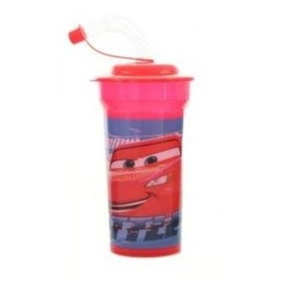 Kelímek s brčkem láhev 500ml Cars Auta červená