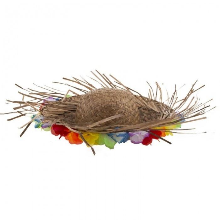 Plážový slamák s květy - přírodní