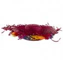 Plážový slamák s květy - červený