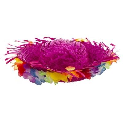 Plážový slamák s květy - růžový