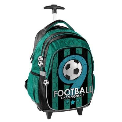Cestovní batoh na kolečkách s vysouvací rukojetí zelený Fotbal