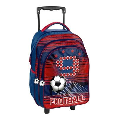 Cestovní batoh na kolečkách s vysouvací rukojetí červený Fotbal